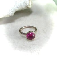 Tiny Hoop Earring Gemstone Ruby Gold Single