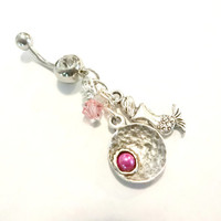 Silver Mermaid Beach Belly Button Ring, Pink Raspberry Pearl Navel Ring, Body Piercing