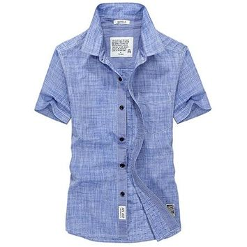 Male Summer Leisure Oxford Pure Color Shirt