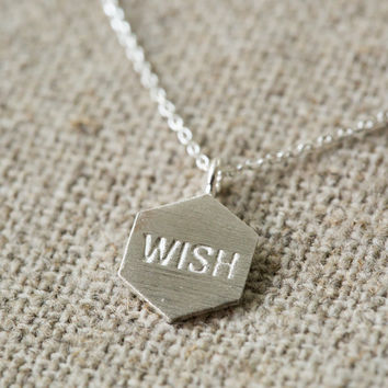 925 hexagon WISH engraved necklace