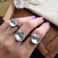 Size 6.75 - Clear Faceted Round Vintage Glass Cabochon Ring