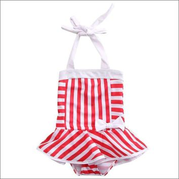 Toddler Kid Swimsuit One Piece Girls Striped Swimsuit Bikini Swimwear
