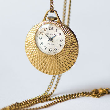 Round lady's watch pendant, gold plated necklace women's watch Sekonda, delicate watch pendant 70s fashion