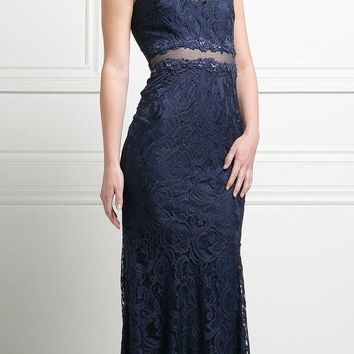 Sleeveless Mock Two-Piece Evening Lace Dress Navy Blue