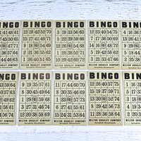 Vintage Bingo Cards Lot of 10 / Old Bingo Cards / Vintage Ephemera Bingo Cards