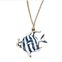 niceeshop(TM) Stripes Bubbling Angelfish Tropical Fish Pendant Necklace,Blue&White