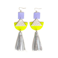 Neon Geometric Holographic Tassel Triangle Leather Earrings in Neon Yellow | Boo and Boo Factory - Handmade Leather Jewelry