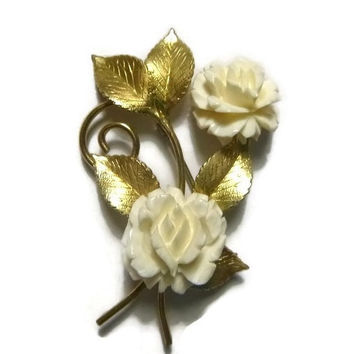Vintage Krementz Rose Brooch Pin Carved Celluloid Flower Brooch Gold Overlay Signed Krementz Brooch Mid Century Floral Wedding Jewelry