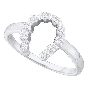 14kt White Gold Women's Round Diamond Simple Lucky Horseshoe Ring 1/20 Cttw - FREE Shipping (US/CAN)