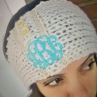 Monogrammed Knit Head Wrap font shown INTERLOCKING