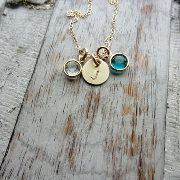 Initial Jewelry 14k Gold Filled Personalized Initial Necklace Simple Monogram Charm Rustic with 2 Two Birthstones, Mothers Necklace