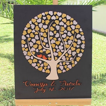 Gold & Silver 3d Wedding Guest book - Alternative wedding guest book - Custom tree hearts guest book Fast Shipping Guest Book