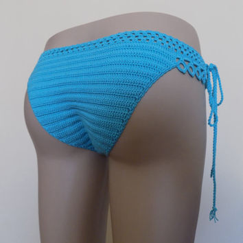 Turquoise Crochet Bottom,Crochet Swimwear,Crochet swimsuits,crochet one pieces bikini,Aqua color crochet bottom ,cheeky bikini,sexy bikini