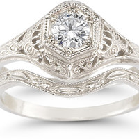 Antique-Style 1/3 Carat Diamond Wedding Ring Set