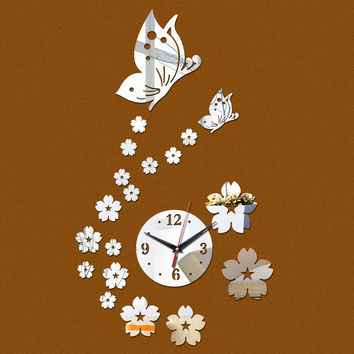 new hot diy mirror wall clock Acrylic 3d stickers europe decor Living Room gift home furniture butterfly sticker free shippin