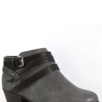 Soda Shoes Buckle Wrap Ankle Booties in Gray ALUM-S-GREY