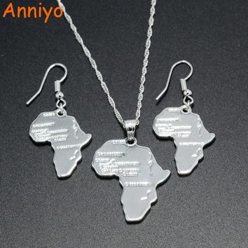 Anniyo Africa Map Pendant Necklaces Earrings Silver