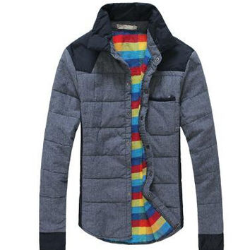 Free shipping2014 new winter thick warm quilted jacket Korean men's casual shirt men plus cotton navy