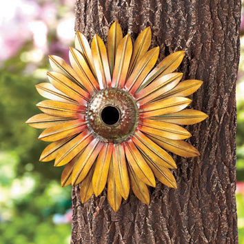 Metal Sunflower Birdhouse Hang On Shed Fence Porch Or Tree Yard Garden Decor