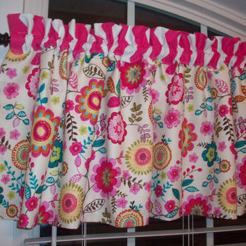 Custom Boutique Chevron/Fuschia/Turquoise/pink/beige Curtain Valance- for Kitchen, Bath, Laundry, Bedroom, living room - Window Treatments