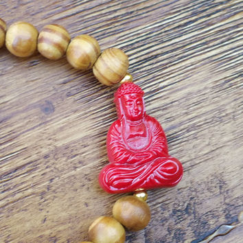Original Collection- Red Buddha Charm/Wood Beaded Hand Made Bracelet