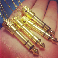 "Audio Jack Necklace - Gold Tone Real Headphone 1/4"" Adapter Jewelry, 30"" Long - Unisex Men's Or Women's Musician Gift"