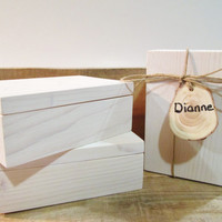 Bridesmaid Candle Gift Boxes, White Wood Gift Boxes, Mother of the Bride Gift, Bridesmaid Gift, Set of 5