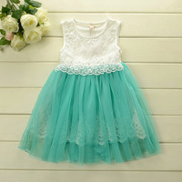 Grace Teal Tulle Lace Girl's Dress