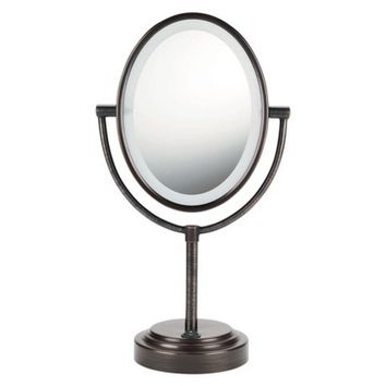 Conair Oiled Bronze Double Sided Oval Illuminated Mirror