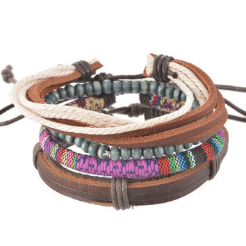 Adjustable Leather Denim Bracelet