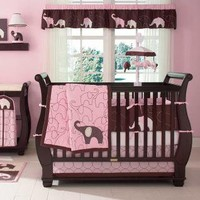 Pink Elephant Baby Crib Bedding by Carters