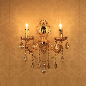 2016 Europe Alloy Double Sides Golden Crystal Wall Lights Up Sconce Lamp As Bedroom Bedside Lights 220V Using E14 Bulbs Ce Rohs