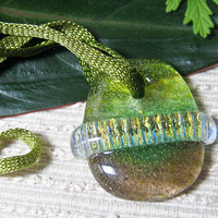 Handmade ARTBEAD Saturn Glass Medium / Bronze Green Color Blend / Meditation Bead / Craft Supply /Jewelry Making Supplies