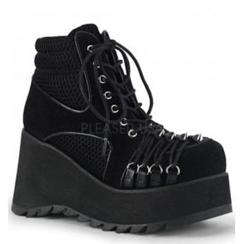 Demonia Scene 32 Suede Wedge Boot | Attitude Clothing