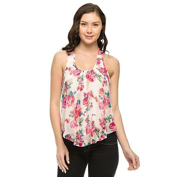 Sleeveless Chiffon Sheer Blouse Hi-Low Hem Cropped Tank Top