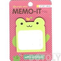 Green Froggy Frog Shaped Memo Sticky Post-it Note Pad | Animal Themed Stationery