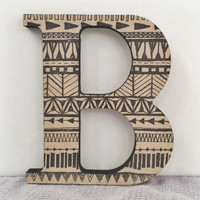 Decorative Wood Wall Letter B, Hanging Wall Letter, Tribal Baby, Tribal Nursery, Initial Monogram Decor, Baby Name Letter
