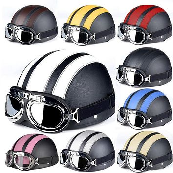 Retro Half Moto Helmets With Goggles