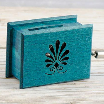 Turquoise palmette custom music own individual unique music box with optional music
