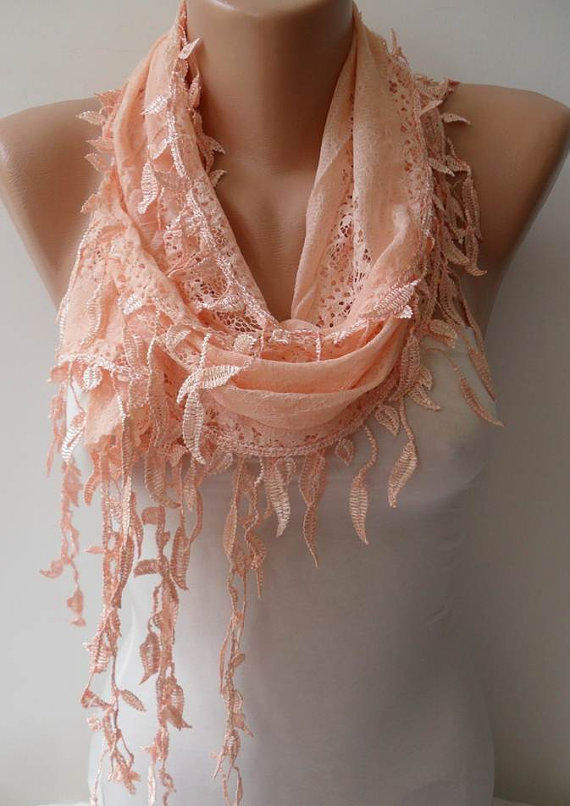 Feminine - Lace Scarf in Light Salmon with Salmon Trim Edge