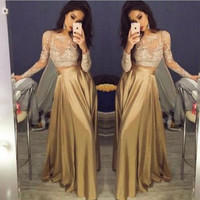 two pieces Prom Dress,long Prom Dress,long sleeves Prom Dress,gold Prom Dress,party dress,PD739