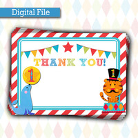 INSTANT DOWNLOAD Fisher Price Circus Birthday Thank You Card | 1st Birthday Carnival Party, Printable