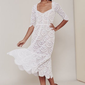 For Love & Lemons White Lace Rosalita Dress