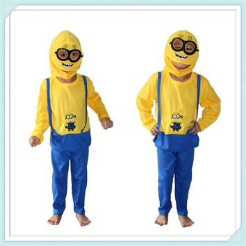 Free shipping Minions Costume Halloween Costume for Kids Boys Disfraces Carnival Long Sleeve Children Clothing Set P89