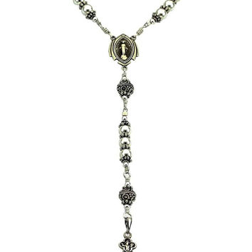 "Sterling Silver Rosary Necklace 6mm beads, Crucifix & Miraculous Medal, 22"" Necklace Prayer Beads"