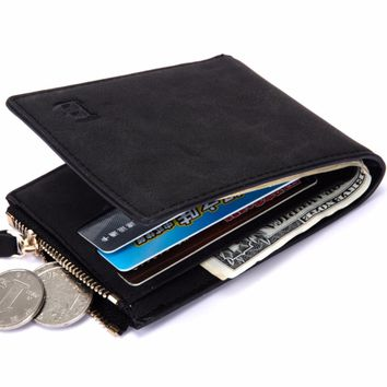 Men Thin Wallet Dollar Price with Coin Bag zipper small money purses Wallets