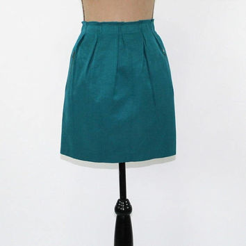 Teal Skirt Mini Skirt Pencil Skirt Womens Large Short Skirt Pleated Waist Skirt with Pockets Blue Green Womens Clothing