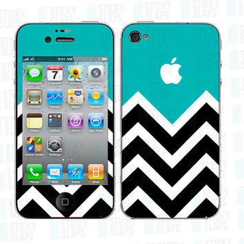 Iphone 5 4 4s Skin Cover - Chevron Aqua Pattern - decal sticker