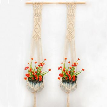 2PCS Macrame Plant Hanger Indoor Outdoor Hand Knit