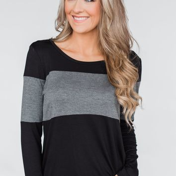 One Way Ticket Color Block Top- Black & Charcoal